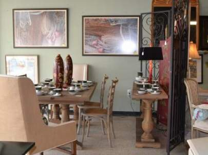 Driftwood Dining Table with 6 chairs and buffet