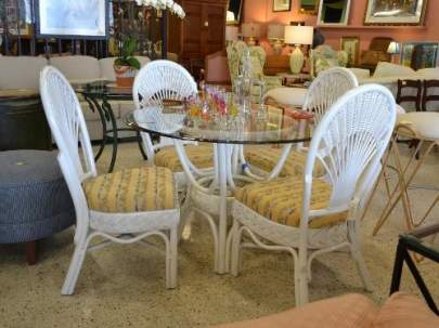 "45"" Glass Top Rattan Table with 4 chairs"