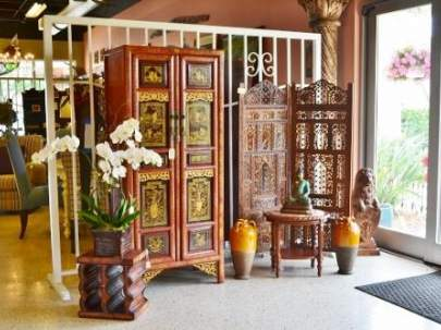 Asian inspired cabinet, teak 2 panel screen